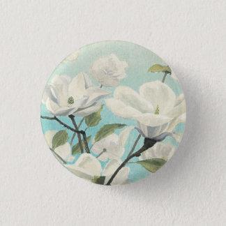 Weiße Blüten vom Süden Runder Button 3,2 Cm