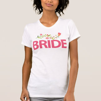 Weiße Braut-Shirts mit rosa Blumen T-Shirt