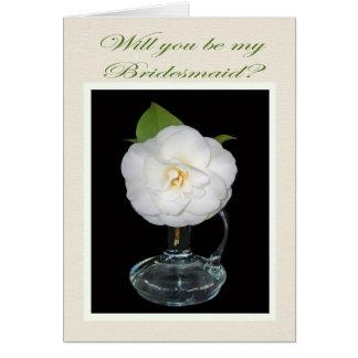 Weiße Camelia Brautjungfern-Einladung Karte