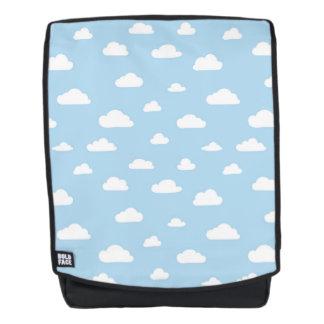Weiße Cartoon-Wolken auf blauem Hintergrund-Muster Rucksack