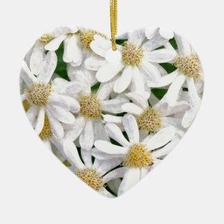 Weiße Dahlien Keramik Herz-Ornament