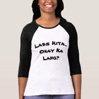 Weiße/des Schwarz-3/4 Hülse mit Filipino Hugot T-Shirt