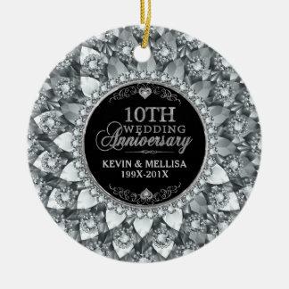 Weiße Diamant-10. Hochzeitstag Keramik Ornament