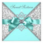 Weiße Diamant-aquamariner blauer Bonbon 16 Individuelle Einladungskarten