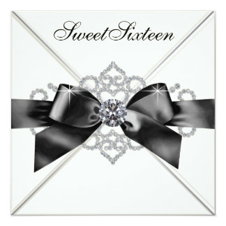 Weiße Diamant-Schwarz-weißer Bonbon 16 Quadratische 13,3 Cm Einladungskarte