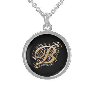 """Weiße Diamanten und goldene Initiale """"B"""" Neklace Sterlingsilber Halskette"""