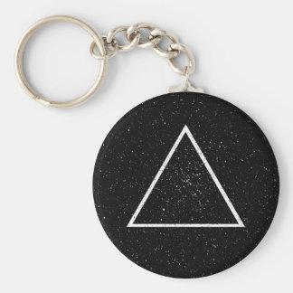 Weiße Dreieck-Kontur auf schwarzem Sternhintergrun Standard Runder Schlüsselanhänger