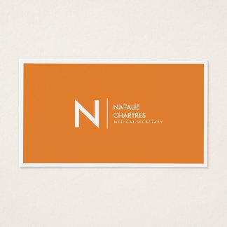 Weiße dünne gerahmte unbedeutende Monogramm-Orange Visitenkarte
