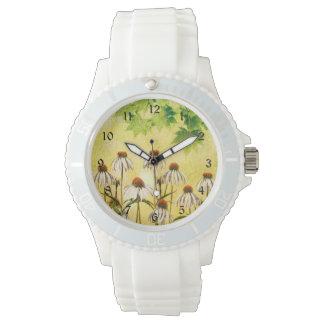 Weiße Echinacea-Blumen Armbanduhr