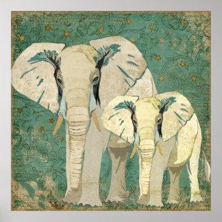 Weiße Elefant-sternenklare Nachtplakat Poster