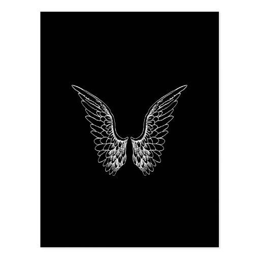 Weiße Engels-Flügel auf schwarzem Hintergrund Postkarten