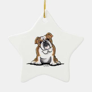 Weiße englische Bulldogge Browns n sitzen hübsches Keramik Stern-Ornament
