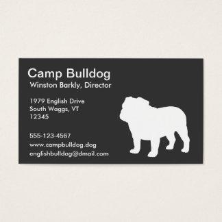 Weiße englische Bulldoggen-Silhouette Visitenkarten