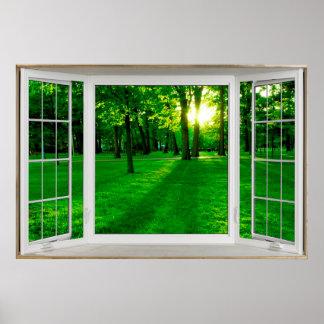 Weiße Erkerfenster-Illusion, die einen Park Poster