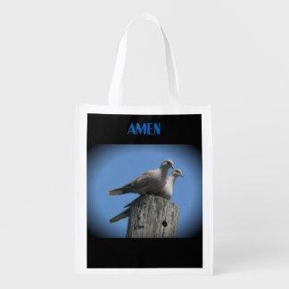Weiße Flügeltauben-Tasche beten für Frieden Wiederverwendbare Einkaufstasche