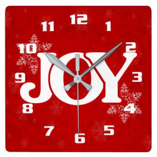 Weiße FREUDE auf elegantem rotem Weihnachten Quadratische Wanduhr