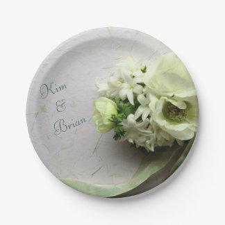 Weiße Frühlings-Blumen mit Band Pappteller
