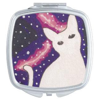 Weiße Galaxie-Katze Schminkspiegel