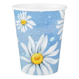 Weiße Gänseblümchen auf Blau Pappbecher