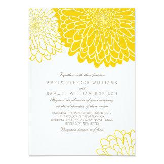 Weiße gelbe Chrysantheme-Hochzeits-Einladung