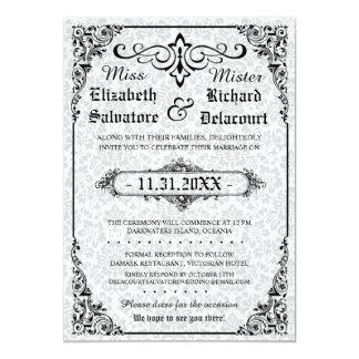 Weiße gotische viktorianische Damast-Hochzeit lädt Karte