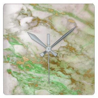 Weiße graue Goldgraphitcarrara-Marmorierungminze Quadratische Wanduhr