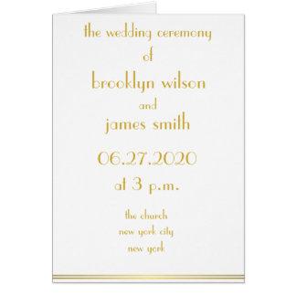 Weiße große Gatsby Hochzeit programmiert Karte