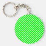 Weiße grün Punkte Standard Runder Schlüsselanhänger