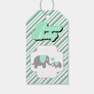 Weiße, grüne u. graue Streifen-Elefant-Babyparty Geschenkanhänger