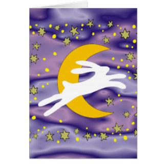 Weiße Hasen und Halbmond-Mond Karte