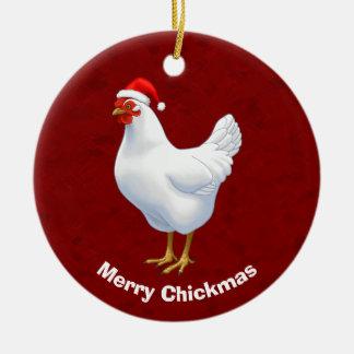 Weiße Henne in der Weihnachtsmannmütze fröhliches Keramik Ornament