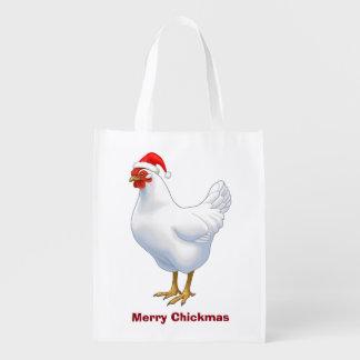 Weiße Henne in der Weihnachtsmannmütze fröhliches Wiederverwendbare Einkaufstasche
