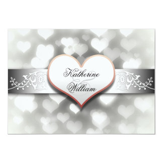 weiße Herz-Verlobungs-Party Einladungen