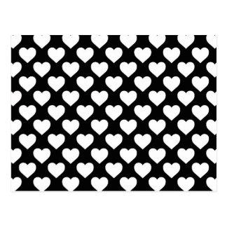 Weiße Herzen auf schwarzem Hintergrund Postkarte