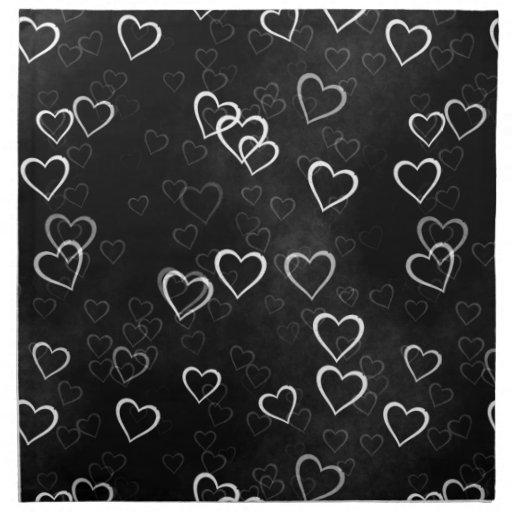 wei e herzen auf schwarzem hintergrund servietten zazzle. Black Bedroom Furniture Sets. Home Design Ideas