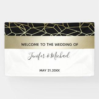 Weiße Hochzeit geometrisches Luxusgold/Black Banner