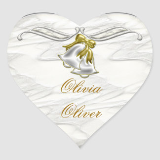 Weiße Hochzeit Herz-Aufkleber