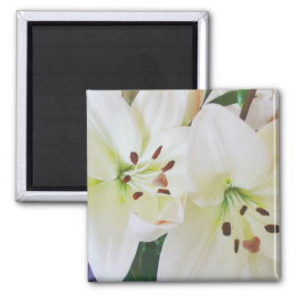 Weiße Hochzeits-Blumen-Save the Date Quadratischer Magnet