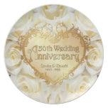 Weiße Hochzeits-Jahrestags-Platte der Rosen-50. Teller