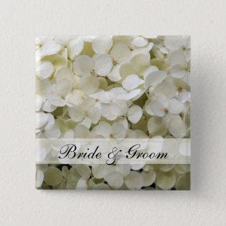 Weiße Hydrangea-Hochzeit Quadratischer Button 5,1 Cm
