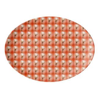 Weiße Kaktus-Blüten-Umhüllungs-Servierplatte Porzellan Servierplatte