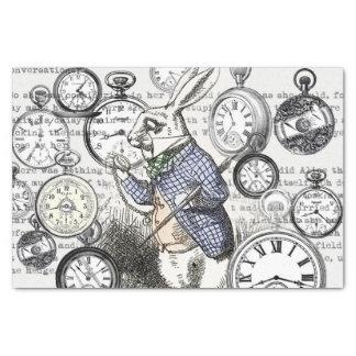Weiße Kaninchen-Alice-Märchenland-Uhr Seidenpapier