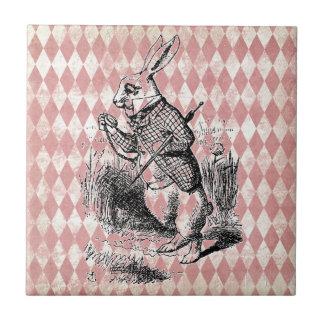 Weiße Kaninchen-Rosa-Diamant-Fliese Fliese