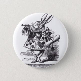 Weiße Kaninchen-Trompete Runder Button 5,1 Cm