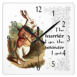 Weiße Kaninchen-Uhr, das Hurrier gehe ich Quadratische Wanduhr