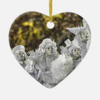 Weiße Karneval-Maskerade Keramik Ornament