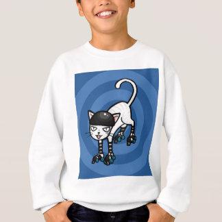 Weiße Katze auf rollerskates Sweatshirt
