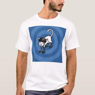 Weiße Katze auf rollerskates T-Shirt