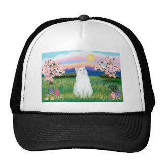 Weiße Katze - Blüten Netz Caps