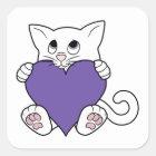 Weiße Katze des Valentines Tagesmit lila Herzen Quadratischer Aufkleber